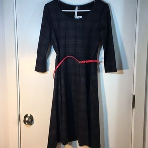 NY collections plaid A line sweater dress NWT
